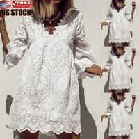 US Women's Lace Mini Dress Ladies Party Holiday Casual Loose V Neck Sundress