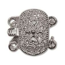 Two Strand Silver Plate Filigree Oval Push Pull Box Clasp w/ Jumprings  3 Clasps