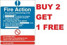 Fire Action Assembly Point Sign Sticker Fire Exit 200mmx150mm health And Safety