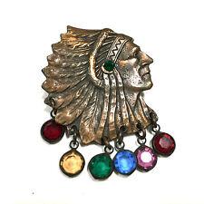 Unique Piece! Vtg Native American Style Chief Copper Brooch Pin Crystals CC205g