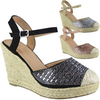 Womens Ladies Hessian Espadrilles Platform Shoes High Heel Wedge Sandals Size