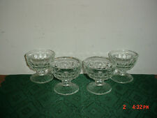 "4-PC INDIANA GLASS/CLEAR GLASS ""CUBE"" 3 1/2"" PUDDING-DESSERT-ICE CREAM/FREE SHIP"