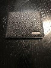 New Auth Salvatore Ferragamo Men Bifold Pebbled Leather Wallet Cards Logo $395