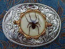New Handcrafted Silver métal boucle de ceinture Ghost Spider Western Cowboy Goth