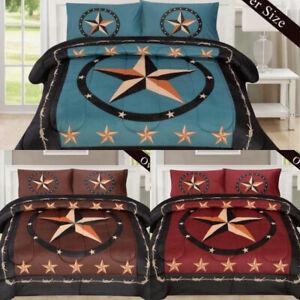 ⭐️3 STYLES Rustic Star South Western Cowboy Barbed Wire Borrego Fleece Comforter