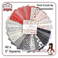 Moda Charm Pack Squares First Crush boys quilting fabric retro modern black red