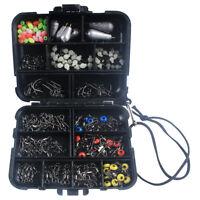 177pcs Fishing Tackle Box Kit Swivels Snaps Sinker Weights Hooks Beads Accessory