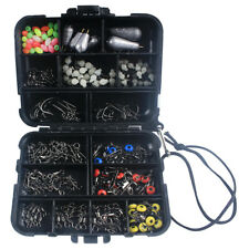 177pcs Fishing Tackle Box Kit Swivels Snaps Sinker Weights Hooks Beads Accessory
