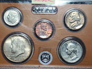 1964 Birth Year Uncirculated Set 5 Coins Some 90% Silver in Holder