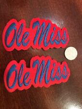 "(2) Ole Miss Rebels Vintage Embroidered Iron On Patches Patch Lot  4"" X 2"""