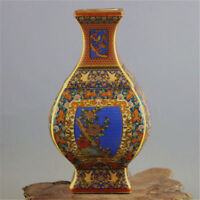 Chinese Cloisonne Hand-Painted Bird&Flower Vase W Yongzheng Mark
