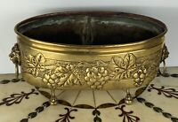 English 19th century planter hammered brass Victorian with liner FREE SHIPPING