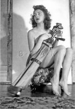 1940s-60s (4 x 6) Nude Repro Pinup RP- Best Golf Partner- Ready to Play- Clubs