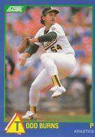 1989 Score Rising Star # 100 Todd Burns - Oakland Athletics