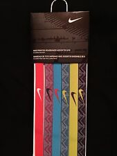 SALE NEW Nike Printed Headbands Pack of 6 Multi Colors-Black/White, Pink Volt