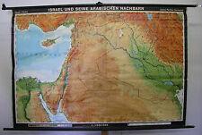 Schulwandkarte Israel Syrien Jordanien Antalya Irak Kuweit Zypern 197x134cm 1972