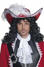 Deluxe Pirate Hat Mens Captain Hook Red White Feather Halloween Costume Adult