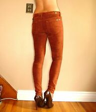 $198 Seven 7 For All Mankind Sueded Skinny Jeans Leggings Rust Caramel Tan 23-26