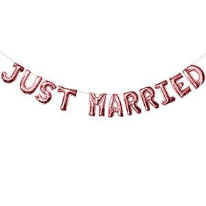 Just Married Folien Luftballon Girlande Banner für Hochzeit Feier Deko Roségold