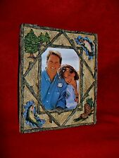 """Whisper Pines 3D Frame with Fish holds 3.5"""" x 5"""" overall 6"""" x 7""""1994 w/ box."""
