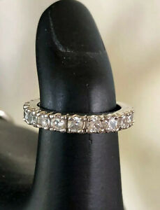 Women's Clear Crystal Eternity Band Wedding Ring Silver Tone Size 8