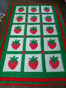 """Vintage HOME SEWN APPLIQUE' QUILT Strawberry PATTERN TWIN SIZE 59 X 81"""""""
