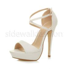 Womens Ladies High Heel Platform Crossed Strappy Evening Prom Sandals Size UK 5 / EU 38 / US 7 White Matte
