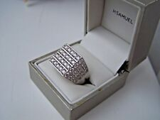 SUPERB CHUNKY SOLID STERLING SILVER SIMULATED DIAMOND SIGNET RING SIZE V 10 1/2