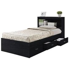 Hodedah Twin Size Captain Bed with 3 Drawers and Headboard in Black