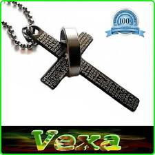 Christian Cross prayer Our Father Necklace & Pendant Stainless steel Black NK15