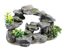 Rocky Arch Outcrop with Plants Aquarium or Vivarium Rock Decoration