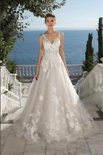 NEW Justin Alexander Wedding Dress Ball Gown Ivory Tulle Beaded Lace V-neck