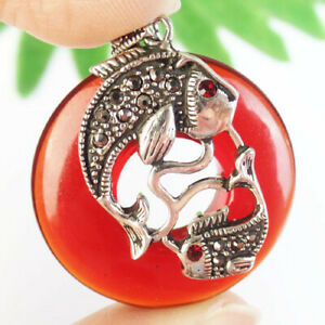 Wrap Silver Pave Crystal Red Titanium Crystal Donut Fish Pendant Bead R41161