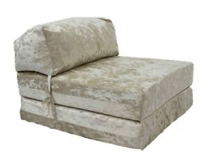 GILDA Crushed Velvet Chair ZBed Fold Out Futon Single Guest Mattress Bed foam