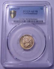 """1882 Newfoundland Canada $2 Gold """"Double Dollar"""" PCGS AU55 Nice coin"""