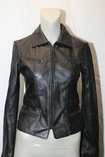 Rem Garson Womens Black Leather Zip Up Jacket Size XS