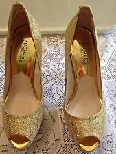 Gold Stiletto Platform Heel Michael Michael Kors York Peep Toe Women US 7.5