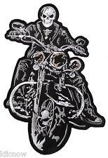 "Skeleton on Motorbike (Gold/Black) Back patch 36.5cm x 24cm ( 14 1/2 x 91/2"")"