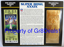 SUPER BOWL 39 ~ PATRIOTS / EAGLES NFL 22 KT GOLD SB XXXIX TICKET Willabee & Ward