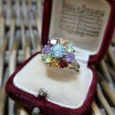 925 Sterling Silver Ring, Multigemstones Ring, Peridot, Topaz, Size M 1/2 US 6.5