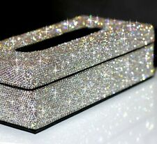 Elegant Silver Crystal Tissue Holder Case Paper Box For Home or Car