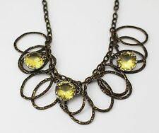 """AEO Bronze-Tone Hammered Multi Oval Link with Yellow Round Crystal 18"""" Necklace"""