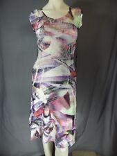 KOMAROV Multi Floral  Boat Neck Lace Cap Sleeve Dress Women's Size M