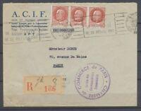 1942 Lettre en reco à 4F50 Cachet Violet Chambre de commerce de Paris RR P3759
