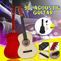 38'' Wood Acoustic Guitar Steel Strings Steel-stringed w/Tuner Pick Guitar Case
