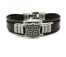 ROUTE 66 LEATHER BRACELET IN BROWN **UK SELLER** BIKER MEN WOMAN