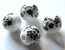 30pcs 10mm Round Porcelain/Ceramic Beads - White / Black Oriental Flowers