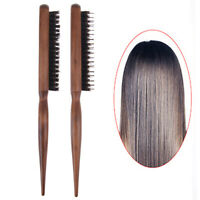 Boar Bristle Hair Comb Fluffy Wood Handle Hair Brush Hairdresser Styling Tool.kn