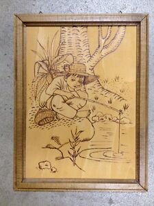 Vintage Folk Art Pyrography Portrait Woodburning Boy Fishing Wood Framed 10 X 13