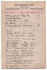 1928 BROOKFIELD INN Massachusetts HOTEL REGISTER Document GUESTS Visitors MASS